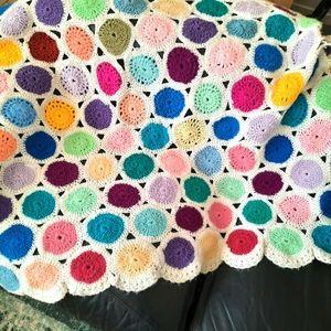 VTG Crochet Knit Granny Square Afghan Throw Blank
